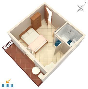 Podaca, Plan in the studio-apartment, WIFI.