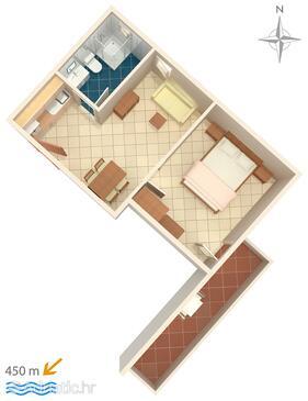 Baška Voda, Plan in the apartment, WIFI.