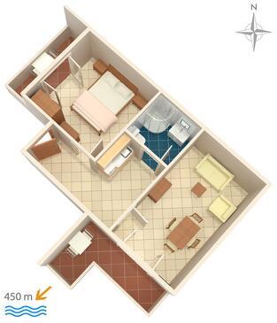 Baška Voda, Pôdorys v ubytovacej jednotke apartment, WIFI.