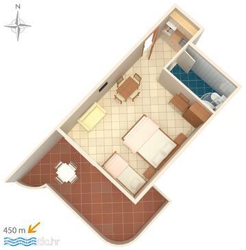 Baška Voda, План в размещении типа studio-apartment, WiFi.