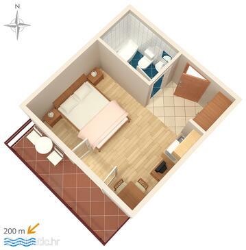 Baška Voda, Půdorys v ubytování typu studio-apartment.
