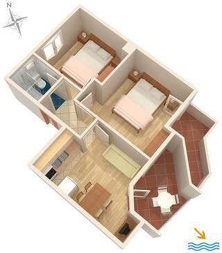 Podgora, Načrt v nastanitvi vrste apartment, WiFi.
