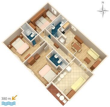 Makarska, Pôdorys v ubytovacej jednotke apartment, dopusteni kucni ljubimci i WIFI.