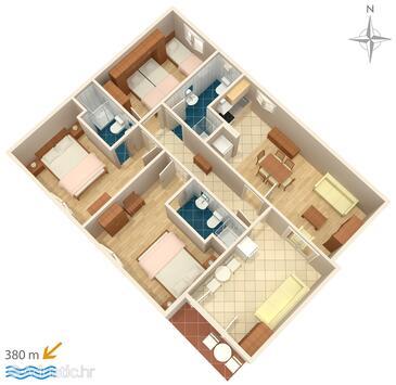 Makarska, Půdorys v ubytování typu apartment, domácí mazlíčci povoleni a WiFi.