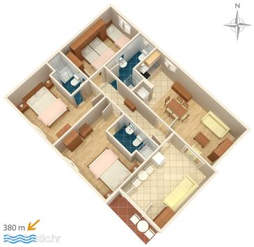 Makarska, Plan in the apartment, (pet friendly) and WiFi.