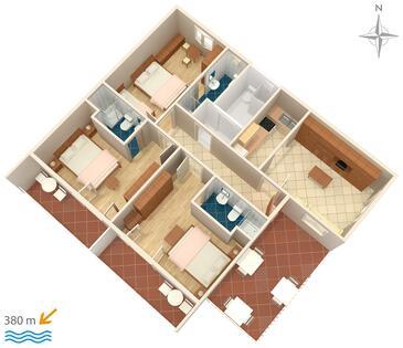 Makarska, Pôdorys v ubytovacej jednotke apartment, domáci miláčikovia povolení a WiFi.