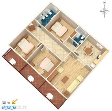 Podgora, Plan dans l'hébergement en type apartment, WiFi.