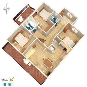 Drašnice, Plan kwatery w zakwaterowaniu typu apartment, WIFI.