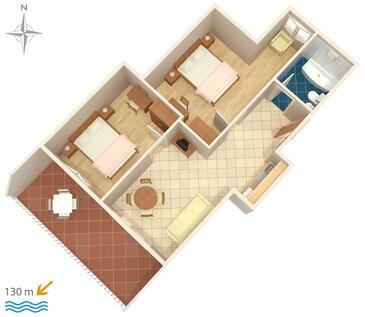 Tučepi, Půdorys v ubytování typu apartment, domácí mazlíčci povoleni a WiFi.