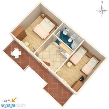 Tučepi, Alaprajz szállásegység típusa apartment, háziállat engedélyezve és WiFi .