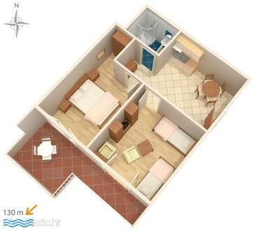 Tučepi, plattegrond in the apartment, (pet friendly) en WiFi.