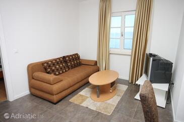 Zaostrog, Living room in the apartment, dopusteni kucni ljubimci i WIFI.
