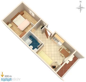 Gradac, Půdorys v ubytování typu apartment, domácí mazlíčci povoleni a WiFi.