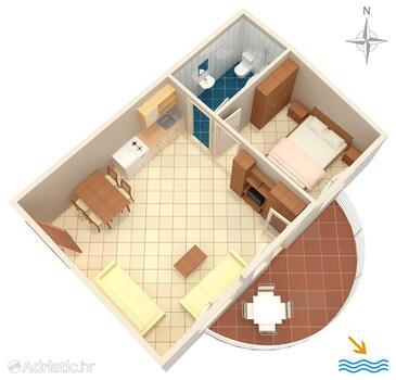 Rastići, Půdorys v ubytování typu apartment, domácí mazlíčci povoleni a WiFi.
