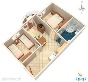 Rastići, Plan in the apartment, dopusteni kucni ljubimci i WIFI.