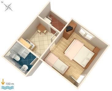 Podaca, Alaprajz szállásegység típusa studio-apartment, WiFi .