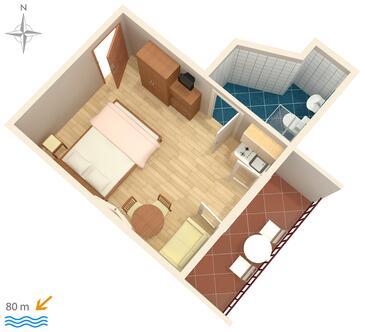 Makarska, Pôdorys v ubytovacej jednotke studio-apartment, dopusteni kucni ljubimci i WIFI.