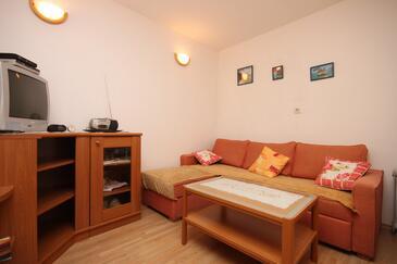 Brela, Obývacia izba v ubytovacej jednotke apartment, dopusteni kucni ljubimci i WIFI.