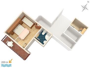 Brela, Plan in the studio-apartment, WIFI.