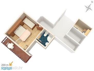 Brela, Plan dans l'hébergement en type studio-apartment, WiFi.