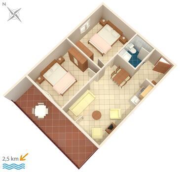 Fiorini, Půdorys v ubytování typu apartment, WiFi.