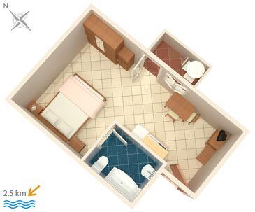 Fiorini, Půdorys v ubytování typu studio-apartment, WiFi.