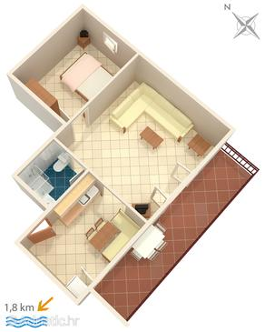 Novigrad, Plan in the apartment, dopusteni kucni ljubimci i WIFI.