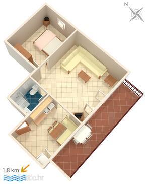 Novigrad, Půdorys v ubytování typu apartment, domácí mazlíčci povoleni a WiFi.