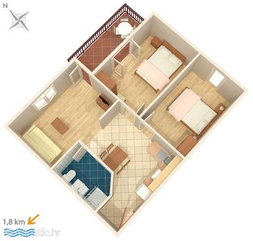 Novigrad, Plan in the apartment, (pet friendly) and WiFi.