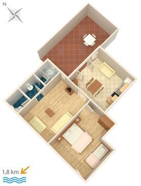 Novigrad, Plan kwatery w zakwaterowaniu typu apartment, zwierzęta domowe są dozwolone i WiFi.