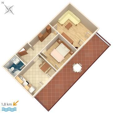 Novigrad, Nacrt u smještaju tipa apartment, kućni ljubimci dozvoljeni i WiFi.