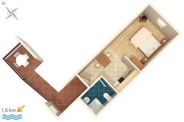 Novigrad, Plan kwatery w zakwaterowaniu typu studio-apartment, zwierzęta domowe są dozwolone i WiFi.