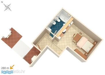 Umag, Plan in the studio-apartment, (pet friendly) and WiFi.