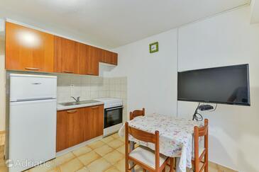 Tkon, Sala da pranzo nell'alloggi del tipo apartment, animali domestici ammessi e WiFi.