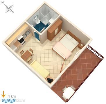 Pula, Půdorys v ubytování typu studio-apartment, WIFI.