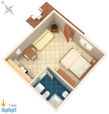 Pula, Plan kwatery w zakwaterowaniu typu studio-apartment, WIFI.