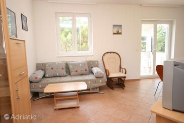 Novigrad, Obývací pokoj v ubytování typu apartment, dopusteni kucni ljubimci i WIFI.