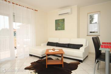 Novigrad, Living room in the apartment, dostupna klima i dopusteni kucni ljubimci.