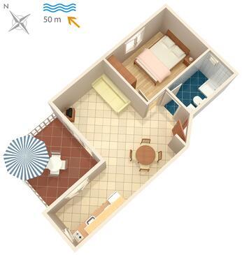 Postira, Plan kwatery w zakwaterowaniu typu apartment, WIFI.