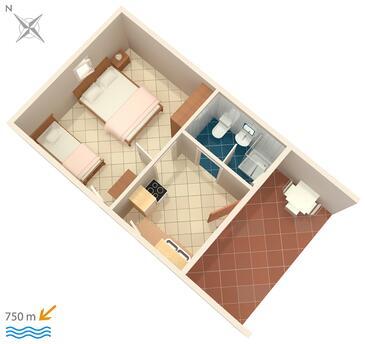 Funtana, Plan kwatery w zakwaterowaniu typu apartment, dopusteni kucni ljubimci i WIFI.