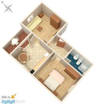 Zambratija, Půdorys v ubytování typu apartment, WIFI.
