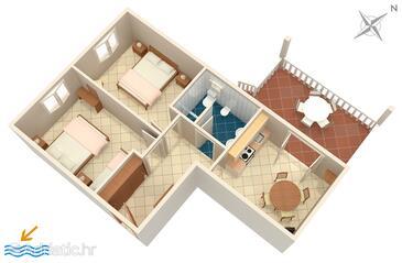 Sumartin, Půdorys v ubytování typu apartment, WiFi.