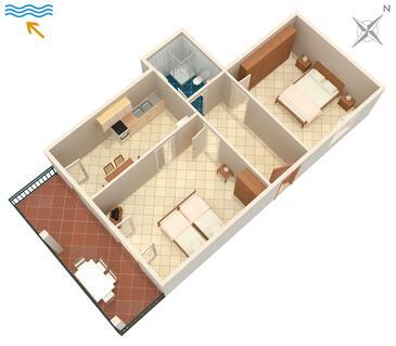 Umag, Pôdorys v ubytovacej jednotke apartment, domáci miláčikovia povolení a WiFi.