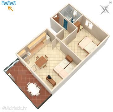 Umag, Plan in the apartment, dopusteni kucni ljubimci i WIFI.
