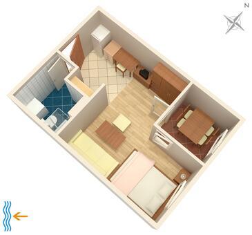 Mareda, Pôdorys v ubytovacej jednotke studio-apartment, domáci miláčikovia povolení.
