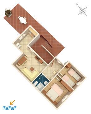 Umag, Půdorys v ubytování typu apartment, domácí mazlíčci povoleni a WiFi.