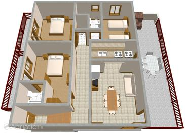 Povlja, Plan in the apartment.