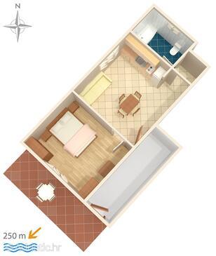 Tribunj, План в размещении типа apartment, Домашние животные допускаются и WiFi.