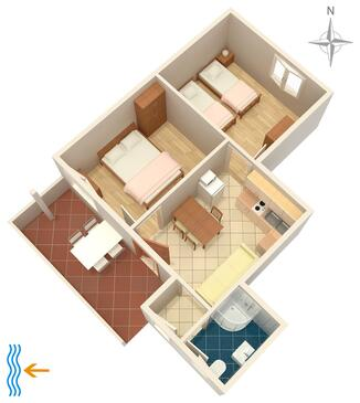 Umag, Plan kwatery w zakwaterowaniu typu apartment, WIFI.