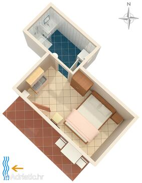 Umag, Plan in the studio-apartment, dopusteni kucni ljubimci i WIFI.